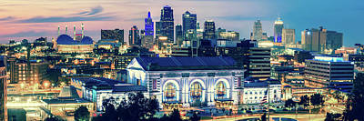 Photograph - Union Station Kansas City Skyline Panoramic by Gregory Ballos