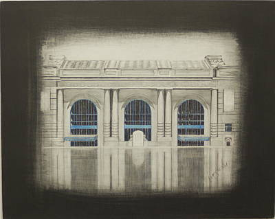 Kansas City Drawing - Union Station - Main by Gregory Lee