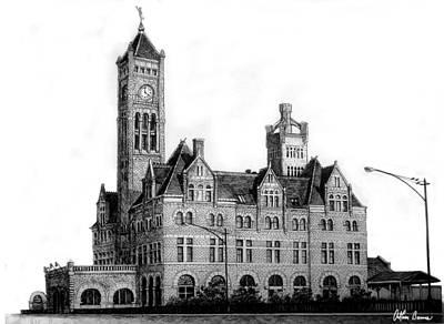 Nashville Drawing - Union Station, Nashville by Arthur Barnes