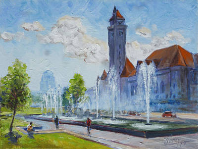 Painting - Union Station - Spring In St.louis by Irek Szelag