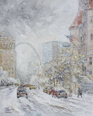 Downtown Painting - Union Station, St.louis - Winter Storm by Irek Szelag