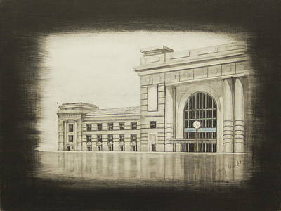 Kansas City Drawing - Union Station - West Wing by Gregory Lee