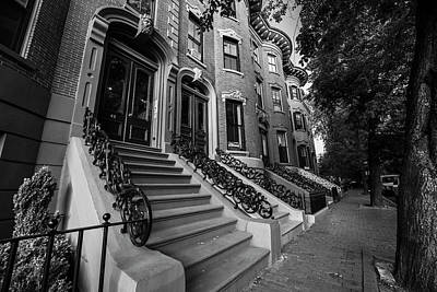 Photograph - Union Street South End Union Park Browstones Boston Ma Black And White by Toby McGuire