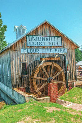 Digital Art - Unionville Grist Mill Water Wheel by Trey Foerster