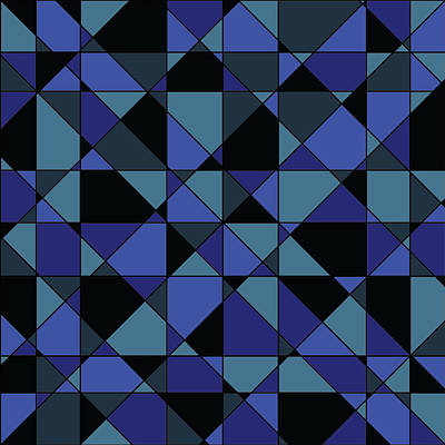 Print featuring the digital art Unique Bold Hip Blue Cyan Grey Black Geometric Pattern by Shelley Neff