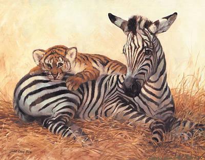 Zebra Art Painting - Unique Friendship by Laurie Hein