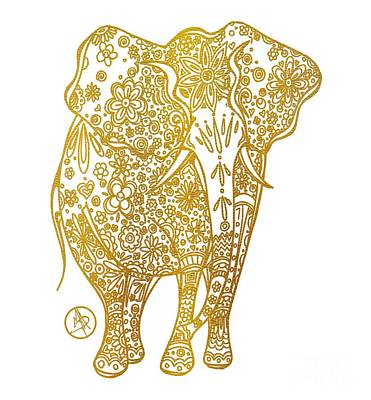 Unique Golden Elephant Art Drawing By Megan Duncanson Art Print