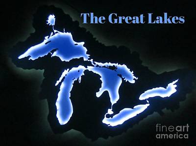 Continent Mixed Media - Unique Great Lakes Map by John Malone