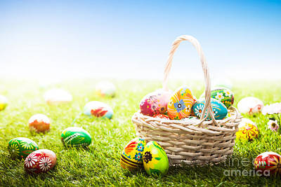 Colors Photograph - Unique Hand Painted Easter Eggs In Basket And Lying On Grass by Michal Bednarek