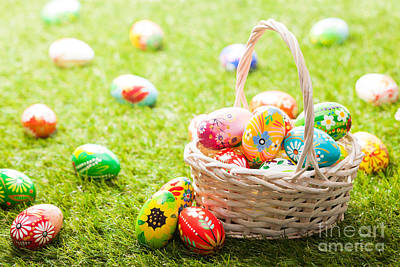 Tradition Photograph - Unique Hand Painted Easter Eggs In Basket On Grass by Michal Bednarek