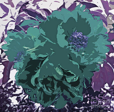 Unique Trio Of Flowers Abstract In Purple And Teal Blue  Art Print by Adri Turner