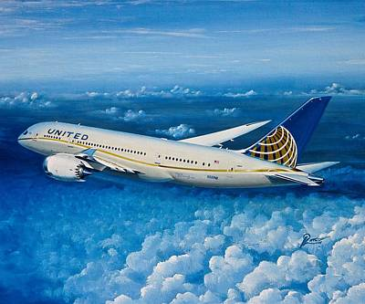 Retro Wall Art - Painting - United 787-8 N26910 by Peter Ring Sr