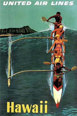 Royalty-Free and Rights-Managed Images - United Air Lines to Hawaii - Riding With Outrigger - Retro travel Poster - Vintage Poster by Studio Grafiikka