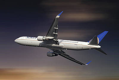 Mixed Media - United Airlines Boeing 767-322 4 by Smart Aviation