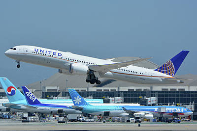 Print featuring the photograph United Boeing 787-9 N27965 Los Angeles International Airport May 3 2016 by Brian Lockett