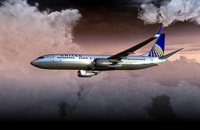 Digital Art - United Continental 737 Ng 01 by Mike Ray