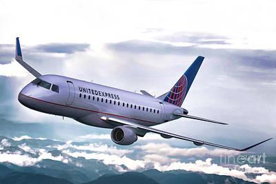 Impasto Mixed Media - United Jet Gaining Altitude  by Garland Johnson