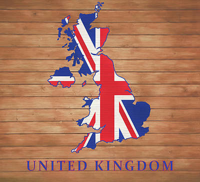 Mixed Media - United Kingdom Rustic Map On Wood by Dan Sproul