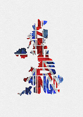 Rust Digital Art - United Kingdom Typographic Kingdom by Inspirowl Design