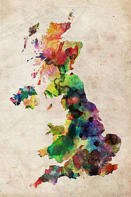 British Digital Art - United Kingdom Watercolor Map by Michael Tompsett