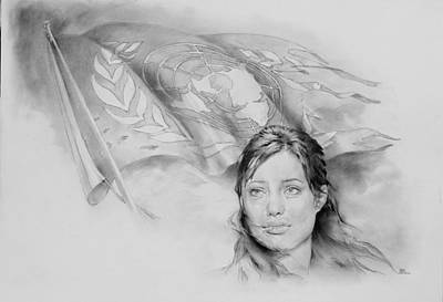 United Nation Un Unhcr Victory Nike Angelina Jolie  Art Print by Michael Klimusha