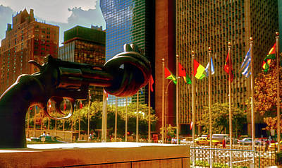 Photograph - United Nations Building Sculpture  Entrance Street View  by Tom Jelen