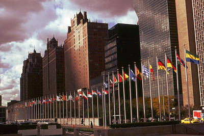 Photograph - New York - United Nations Flags by Art America Gallery Peter Potter