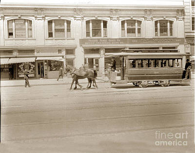Photograph - United Railroads Streetcar In Front Of New Orleans Coffee Parlor San Francisco Circa 1908 by California Views Mr Pat Hathaway Archives