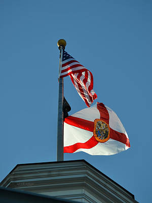 Photograph - United States And State Of Florida Flags Over The State Capitol by rd Erickson