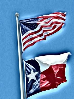 Photograph - United States And Texas Flags by Tony Baca