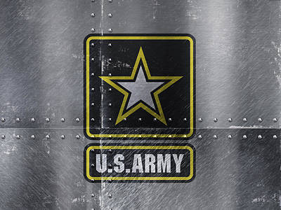 Armed Forces Mixed Media - United States Army Logo On Steel by Design Turnpike