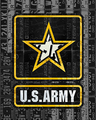 Armed Forces Mixed Media - United States Army Logo Recycled Vintage License Plate Art by Design Turnpike