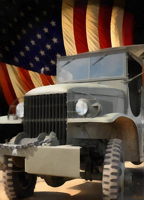 United States Army Truck And American Flag  Art Print by Anne Kitzman