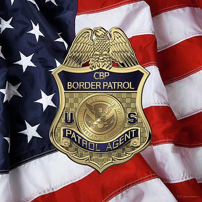 Digital Art - United States Border Patrol -  U S B P  Patrol Agent Badge Over American Flag by Serge Averbukh