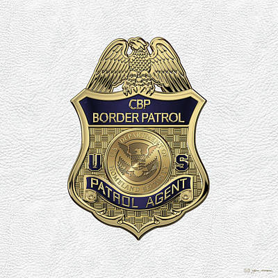 United States Border Patrol -  U S B P  Patrol Agent Badge Over White Leather Art Print by Serge Averbukh