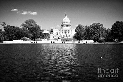 United States Capitol Building And Capitol Reflecting Pool Washington Dc Usa Art Print