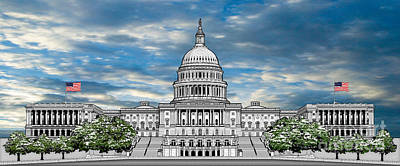 Capitol Building Drawing - United States Capitol Building by Doug LaRue