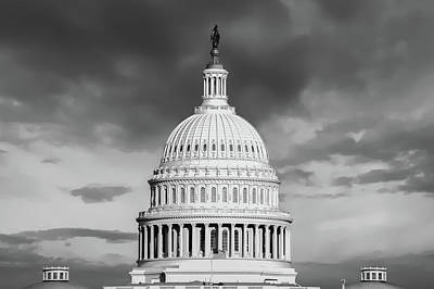 Going Green - United States Capitol Building - Washington D.C. - Black and White by Gregory Ballos