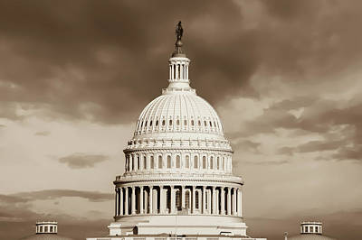 Photograph - United States Capitol Building - Washington D.c. - Sepia by Gregory Ballos