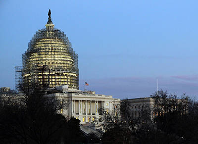 Photograph - United States Capitol Dome Scaffolding At Dusk by Cora Wandel
