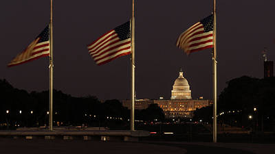 Photograph - United States Capitol Flags Washington by Lawrence S Richardson Jr