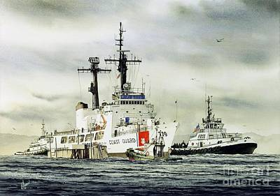 Tugboat Wall Art - Painting - United States Coast Guard Boutwell by James Williamson