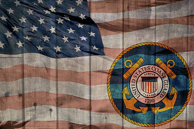 United States Coast Guard Logo Barn Door Art Print by Dan Sproul