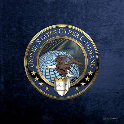 Digital Art - United States Cyber Command - C Y B E R C O M Emblem Over Blue Velvet by Serge Averbukh