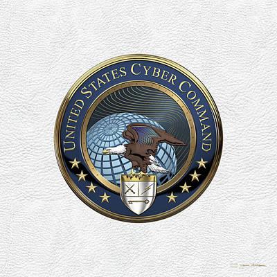 Digital Art - United States Cyber Command - C Y B E R C O M Emblem Over White Leather by Serge Averbukh