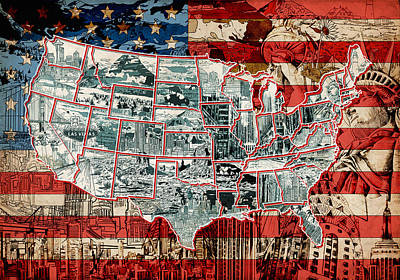 Watercolor Map Painting - United States Drawing Collage Map 6 by Bekim Art
