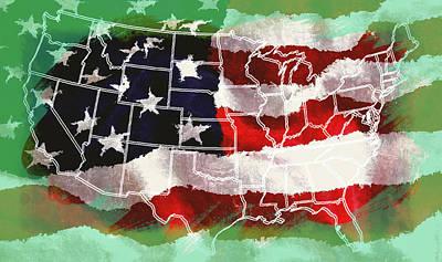 U S Flag Digital Art - United States Flag Map by Daniel Hagerman