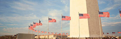 Founding Fathers Photograph - United States Flags At The Base by Panoramic Images
