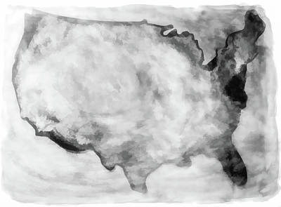 Photograph - United States Map Black Wood by Athena Mckinzie