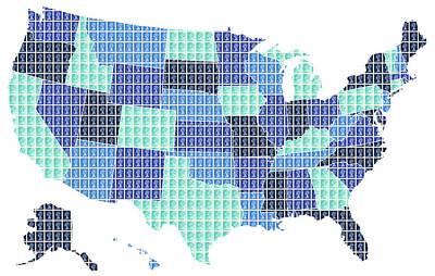 United States Map - Blue Original